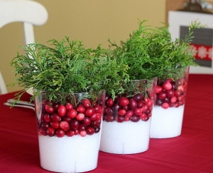 DIY craft ideas for christmas table decorations - Cranberry Centerpieces