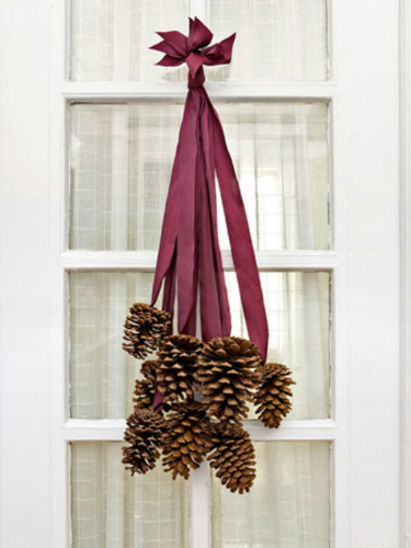 Ready the ribbon and pine cone wreath
