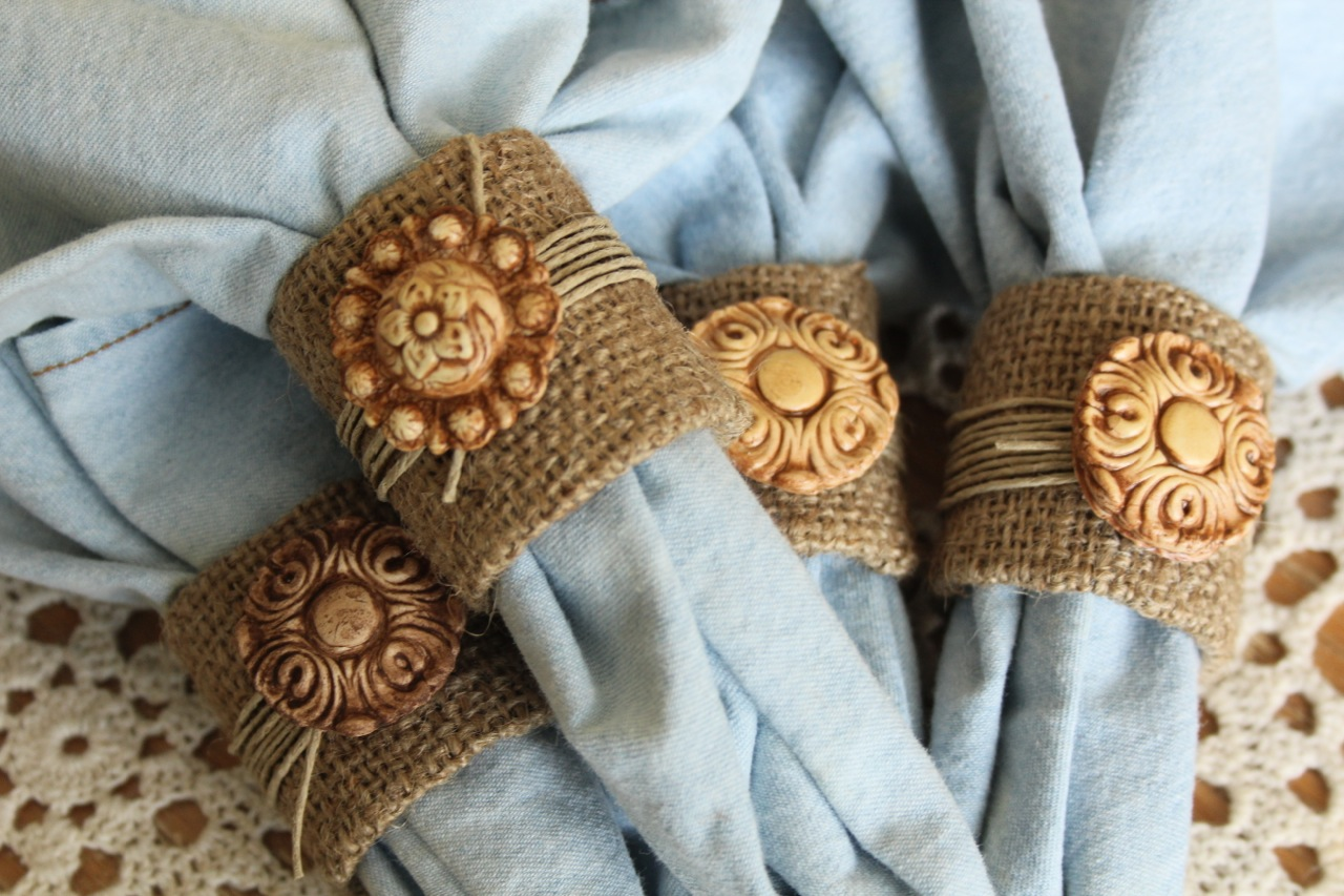 Burlap and Clay Napkin Rings