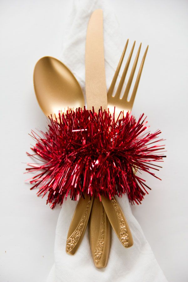 tinsel napkin rings