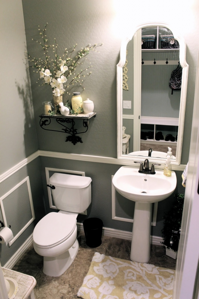 modern black and white bathroom after